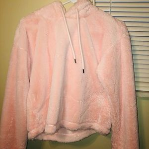 Fuzzy cropped hoodie